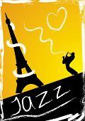 Abstract design with saxophonist and eiffel Tower