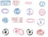 Colorful postmarks from eastern Europe grunge style