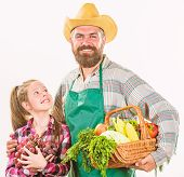 Man Bearded Rustic Farmer With Kid. Farmers Family Homegrown Harvest. Father Farmer Or Gardener With poster