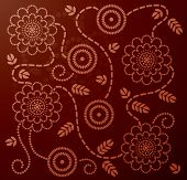 Chinese pattern with flower, leaves and swirls made from circle