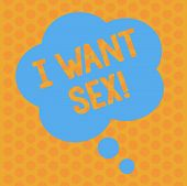 Writing Note Showing I Want Sex. Business Photo Showcasing To Desire Sexual Intercourse Excitement F poster