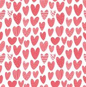 Seamless Pattern With Doodle Pink Hearts. Dating And Romance Doodle Texture. Ornate Stylized Heart S poster