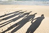 picture of crew cut  - The silhouettes of five people on the beach in late afternoon sunlight - JPG