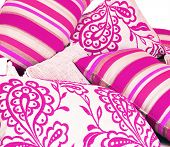 a Combination of cerise pink cushions