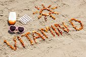 Medical Pills, Inscription Vitamin D Made Of Amber Stones And Accessories For Sunbathing At Beach, C poster