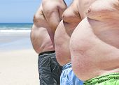 stock photo of fat-guts  - Close up of three obese fat men on the beach showing their unhealthy bellies - JPG