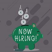 Word Writing Text Now Hiring. Business Concept For Workforce Wanted Employees Recruitment. poster