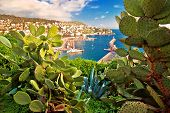 City Of Nice Colorful Waterfront And Yachting Harbor View Through Mediterranean Cactus And Agave, Fr poster