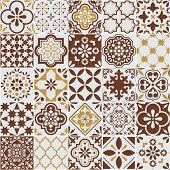 Lisbon Azulejos Tile Vector Pattern, Portuguese Or Spanish Retro Old Tiles Mosaic, Mediterranean Sea poster