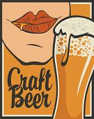 Vector Banner On The Theme Of Beer In Retro Style With Calligraphic Inscription Craft Beer. Flat Ill poster