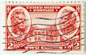 stamp printed by USA shows a the image of President Jackson and Winfield Scott and the Hermitage bui