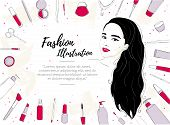 Template Of A Banner Or Flyer With Space For Text For Beauty Salon. Fashion Illustration Of A Brunet poster