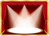 vector horizontal empty stage with red curtain and three spots, eps 10 file