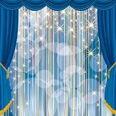 vector blue stage with stars and strips