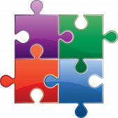 vector four puzzles in different colors