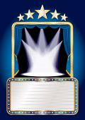 foto of curtains stage  - vector blue stage with five stars and spots and blank billboard - JPG