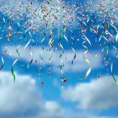 vector falling confetti in clouds