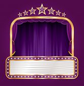 vector purple velvet stage with blank billboard and stars