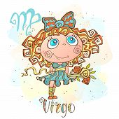 Childrens Horoscope Icon. Zodiac For Kids. Virgo Sign . Vector. Astrological Symbol As Cartoon Chara poster
