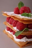 french dessert, raspberry mille feuille