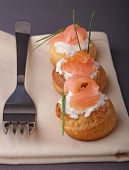 finger food, choux with cheese and salmon