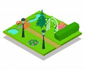 Yard Concept Banner. Isometric Banner Of Yard Vector Concept For Web, Giftcard And Postcard poster