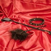 Bondage, Kinky Adult Sex Games, Kink And Bdsm Lifestyle Concept With A Whip, Feather Stick, Collar O poster