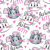 Seamless Pattern With Cute Fase Of Cats And Bows. Fashion Kawaii Kitty. Vector Illustration poster