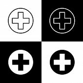 Flat Monochrome Medical Cross Icon Set For Web Sites And Apps. Minimal Simple Black And White Medica poster