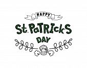 Hand Sketched Happy St. Patrick S Day Typography Lettering Poster. Celebration Quote For Postcard, I poster