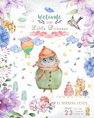 Watercolor Cute Cartoon Owl. Cute Baby Greeting Card. Boho Flowers And Floral Bouquets Happy Birthda poster