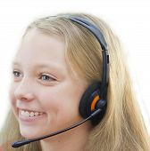 Closeup of smiling girl in headphones