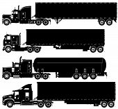 image of semi trailer  - Vector detailed trucks silhouettes set isolated on white - JPG