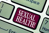 Conceptual Hand Writing Showing Sexual Health. Business Photo Showcasing Std Prevention Use Protecti poster