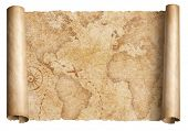 Vintage world map scroll isolated on white. Based on image furnished from NASA. poster