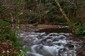Long Exposure Of The River Flowing Through Horner Woods In Devon poster