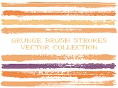 Long Orange Ink Brush Strokes Isolated Design Elements. Set Of Paint Lines. Dirty Stripes, Textured  poster