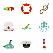 Sea Adventure Icons Set. Flat Style Set Of 9 Sea Adventure Icons For Web Design poster