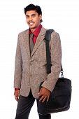 Indian business man with laptop bag