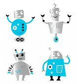 Cute Retro Robots Set Isolated On White ( Blue And Metal )