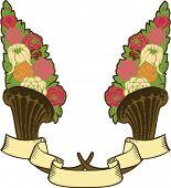 vintage horn of plenty, flores e banner