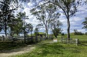 Australian Countryside Landscape, With Dirt Track Leading To A Cattle Station. Private Property Beyo poster