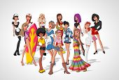 Set of 13 beautiful sexy cartoon girls