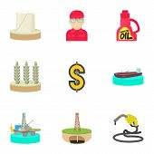 Oil Production Icons Set. Cartoon Set Of 9 Oil Production Icons For Web Isolated On White Background poster