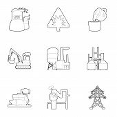 Heavy Industry Icons Set. Outline Set Of 9 Heavy Industry Icons For Web Isolated On White Background poster