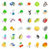 Vitality Icons Set. Isometric Style Of 36 Vitality Icons For Web Isolated On White Background poster