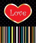 Love Heart Striped Background