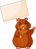 Funny Woodchuck holding Groundhog Day Sign
