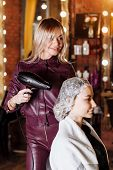Beautiful Blonde Attractive Woman At Hairdresser poster
