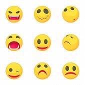 Funny Emoji Icons Set. Cartoon Set Of 9 Funny Emoji Icons For Web Isolated On White Background poster